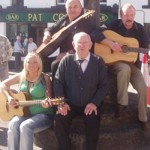 John Norton with the O'Hanlons musicians outside Pat Cohan's Bar