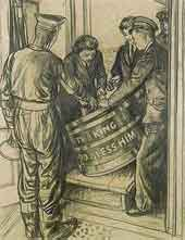 WRNS serving rum to a sailor from a tub inscribed 'THE KING GOD BLESS HIM