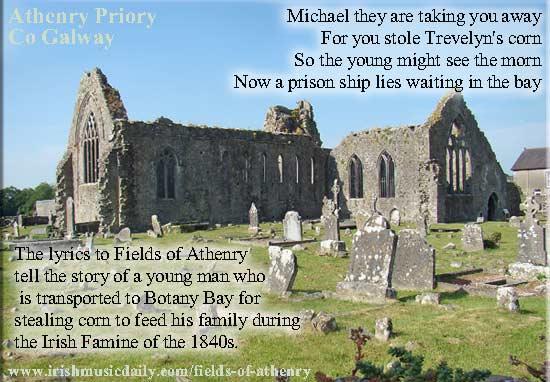 Fields of Athenry lyrics - image copyright Irish Music Daily