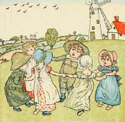 Ring-a-ring-a-roses Kate Greenaway cartoon