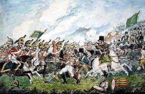 "Charge of the 5th Dragoon Guards on the insurgents – ''a yeoman having deserted to them in uniform is being cut down"" William Sadler (1782-1839)"