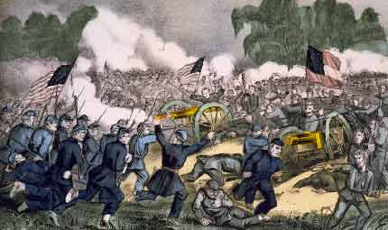 The battle of Gettysburg, 3rd July 1863, showing Battle of Gettysburg, July 1—3, 1863 - part of American Civil War and was won by the North. Lithograph by Currier and Ives
