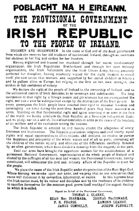 Easter Proclamation of 1916. The rebellions inspired the Irish song 'Foggy Dew'