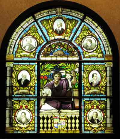 Stained glass window at Ottawa PublicLibrary Copyright Mike Gifford  and licensed for reuse under this Creative Commons Licence 2