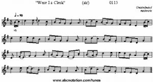 Were I a Clerk melody (to Irish writer Thomas Moore song - You Remember Ellen) from abc notation