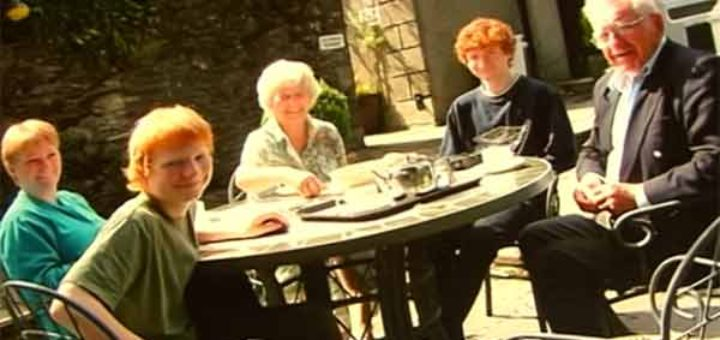 Young Ed Sheeran sat with his family