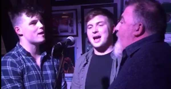 Geaney family singing Parting Glass in Irish pub
